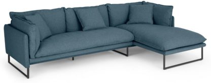 An Image of Malini Right Hand Facing Chaise End Sofa, Orleans Blue