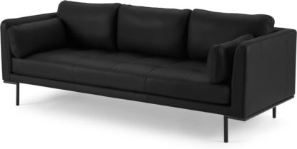 An Image of Harlow 3 Seater Sofa, Denver Black Leather
