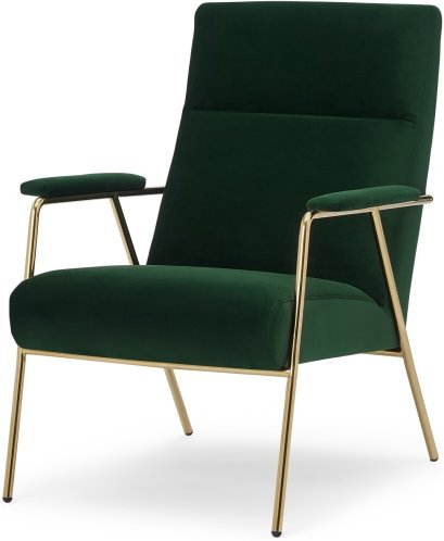 An Image of Merle Accent Chair, Pine Green Velvet with Brass Frame
