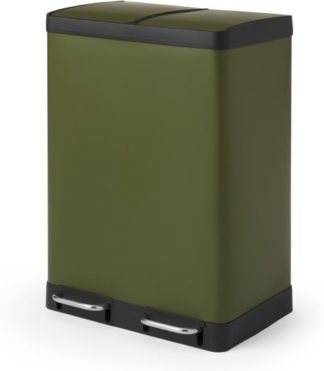 An Image of Colter 60L Soft Close Double Recycling Pedal Bin x2 30L, Forest Green