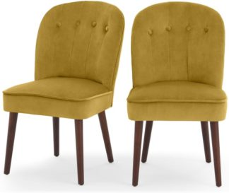 An Image of Set of 2 Margot Dining Chairs, Vintage Gold Velvet and Dark Wood