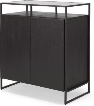 An Image of Kilby Compact Sideboard, Black Stained Mango Wood and Smoked Glass