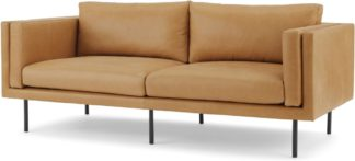 An Image of Savio Large 2 Seater Sofa, Chalk Tan Leather