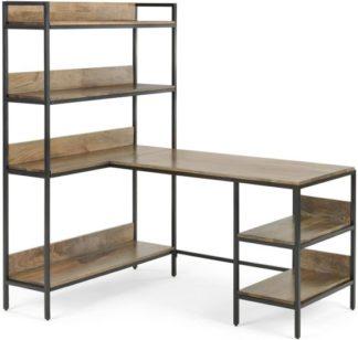 An Image of Lomond Adjustable Corner Desk with Shelves, Mango Wood and Black