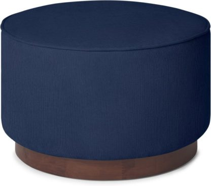 An Image of Hetherington Large Wooden Pouffe, Midnight Corduroy Velvet with Dark Stain Wood