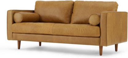 An Image of Scott Large 2 Seater Sofa, Charm Tan Premium Leather