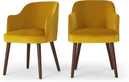 An Image of Set of 2 Swinton Carver Dining Chairs, Saffron Yellow Velvet & Dark Stain