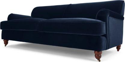 An Image of Orson 3 Seater Sofa, Ink Blue Velvet