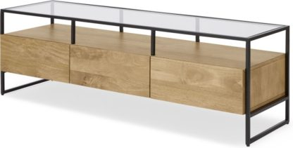 An Image of Kilby Wide TV Stand, Light Mango Wood and Glass
