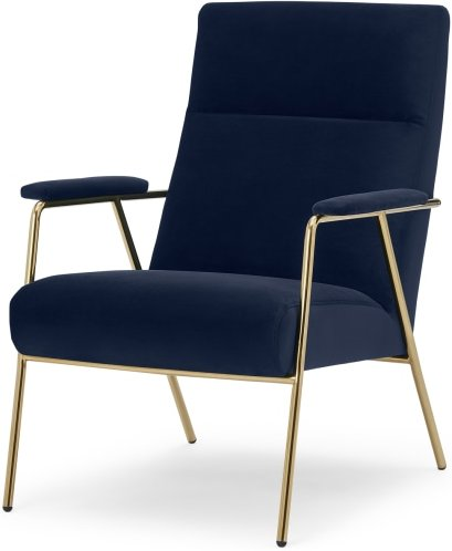 An Image of Merle Accent Chair, Royal Blue Velvet with Brass Frame