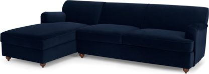 An Image of Orson Left Hand Facing Chaise End Sofa Bed, Ink Blue Velvet