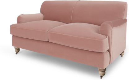 An Image of Orson 2 Seater Sofa, Vintage Pink Velvet