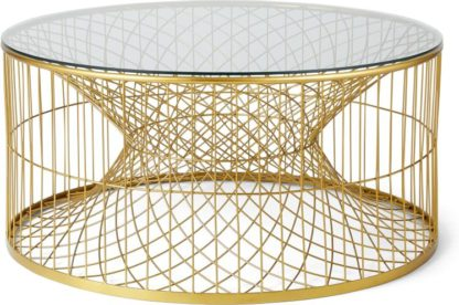An Image of Alaska Wire Coffee Table, Brass & Glass