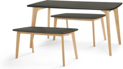 An Image of Fjord Dining Table and Bench Set, Oak and Grey