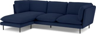 An Image of Wes 3 Seater Chaise End Corner Sofa, Midnight Blue Micro Corduroy Velvet