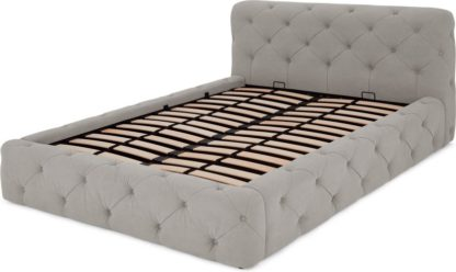 An Image of Sloan King Size Ottoman Storage Bed, Washed Grey Cotton