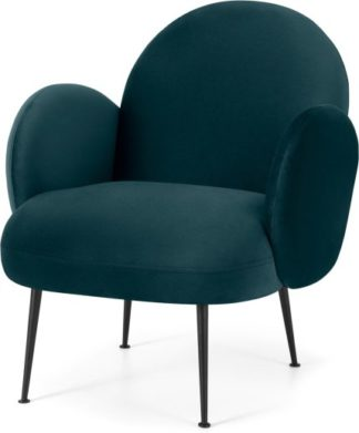 An Image of Bonnie Accent Armchair, Steel Blue Velvet with Black Legs