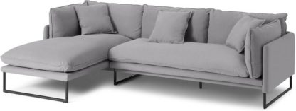 An Image of Malini Left Hand Facing Chaise End Sofa, Mineral Cotton & Linen Mix