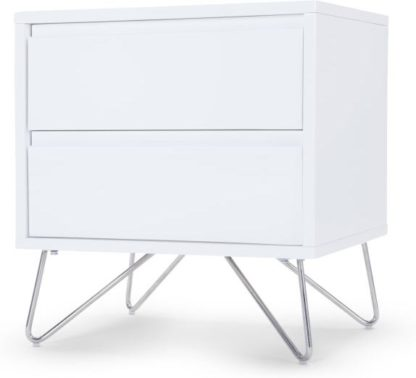 An Image of Elona Bedside Table, White Gloss and Chrome