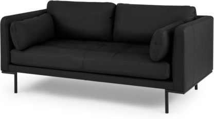 An Image of Harlow Large 2 Seater Sofa, Denver Black Leather