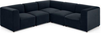 An Image of Juno 5 Seater Sofa Corner Group, Twilight Blue Velvet