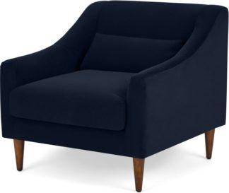An Image of Herton Armchair, Ink Blue Velvet