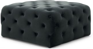 An Image of Hampton Square Pouffe, Midnight Grey Velvet