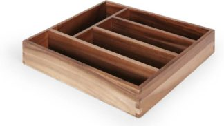 An Image of Clover Acacia Wood Cutlery Tray, Dark Stain