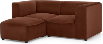 An Image of Juno 2 Seater Modular Sofa with Footstool, Warm Caramel Velvet
