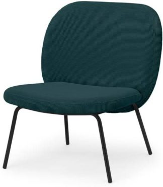 An Image of Safia Accent Chair, Pine Corduroy Velvet with Black Legs