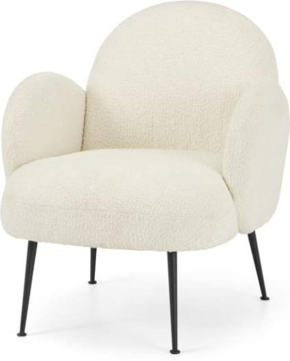An Image of Bonnie Accent Armchair, Whitewash Boucle with Black Legs