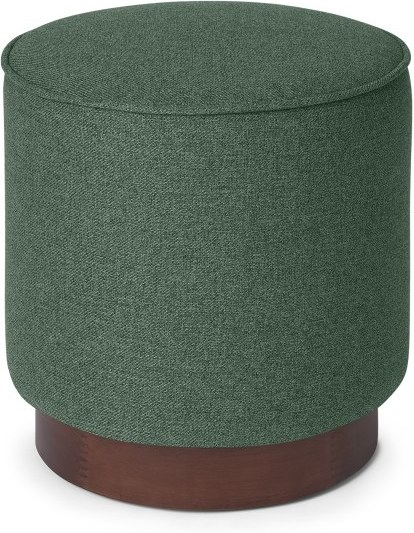 An Image of Hetherington Small Wooden Pouffe, Darby Green & Dark Stain Wood