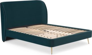 An Image of Veeno King Size Bed, Steel Blue Velvet