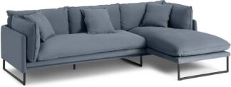 An Image of Malini Right Hand Facing Chaise End Sofa, Jeans Blue Cotton & Linen Mix