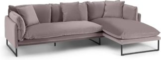 An Image of Malini Right Hand Facing Chaise End Sofa, Latte Velvet