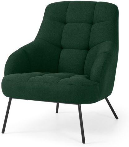 An Image of Howley Accent Armchair, Forest Green Weave