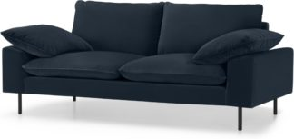 An Image of Fallyn Large 2 Seater Sofa, Navy Cotton Velvet