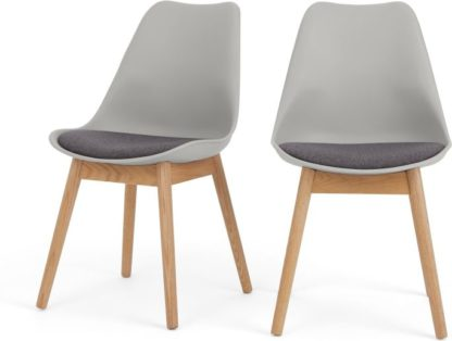 An Image of Set of 2 Thelma dining chairs, Oak and Tonal Grey Fabric