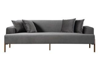An Image of Duke Three Seat Sofa - Dove Grey -Brass finish Legs