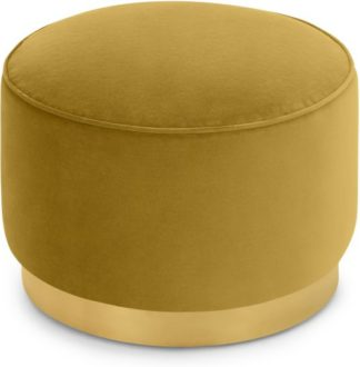 An Image of Hetherington Large Brass Base Pouffe, Vintage Gold Velvet