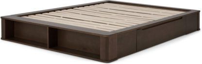 An Image of Kano King Size Platform Bed with Drawer Storage, Walnut Stain Pine