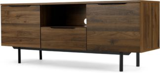 An Image of Damien Wide TV stand, Walnut & Black