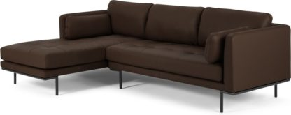 An Image of Harlow Left Hand Facing Chaise End Sofa, Denver Dark Brown Leather