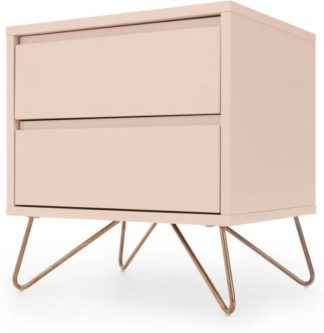 An Image of Elona Bedside Table, Dusk Pink and Copper