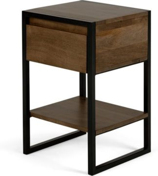 An Image of Rena Bedside Table, Mango Wood and Black Metal