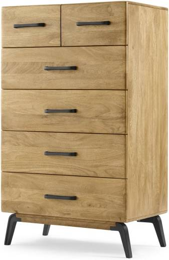 An Image of Lucien Tall Chest of Drawers, Light Mango Wood