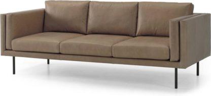 An Image of Savio 3 Seater Sofa, Chalk Mink Leather