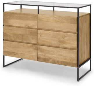 An Image of Kilby Wide Chest of Drawers, Light Mango Wood & Black