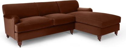 An Image of Orson Right Hand Facing Chaise End Sofa Bed, Warm Caramel Velvet