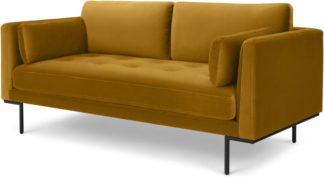 An Image of Harlow Large 2 Seater Sofa, Vintage Mustard Velvet